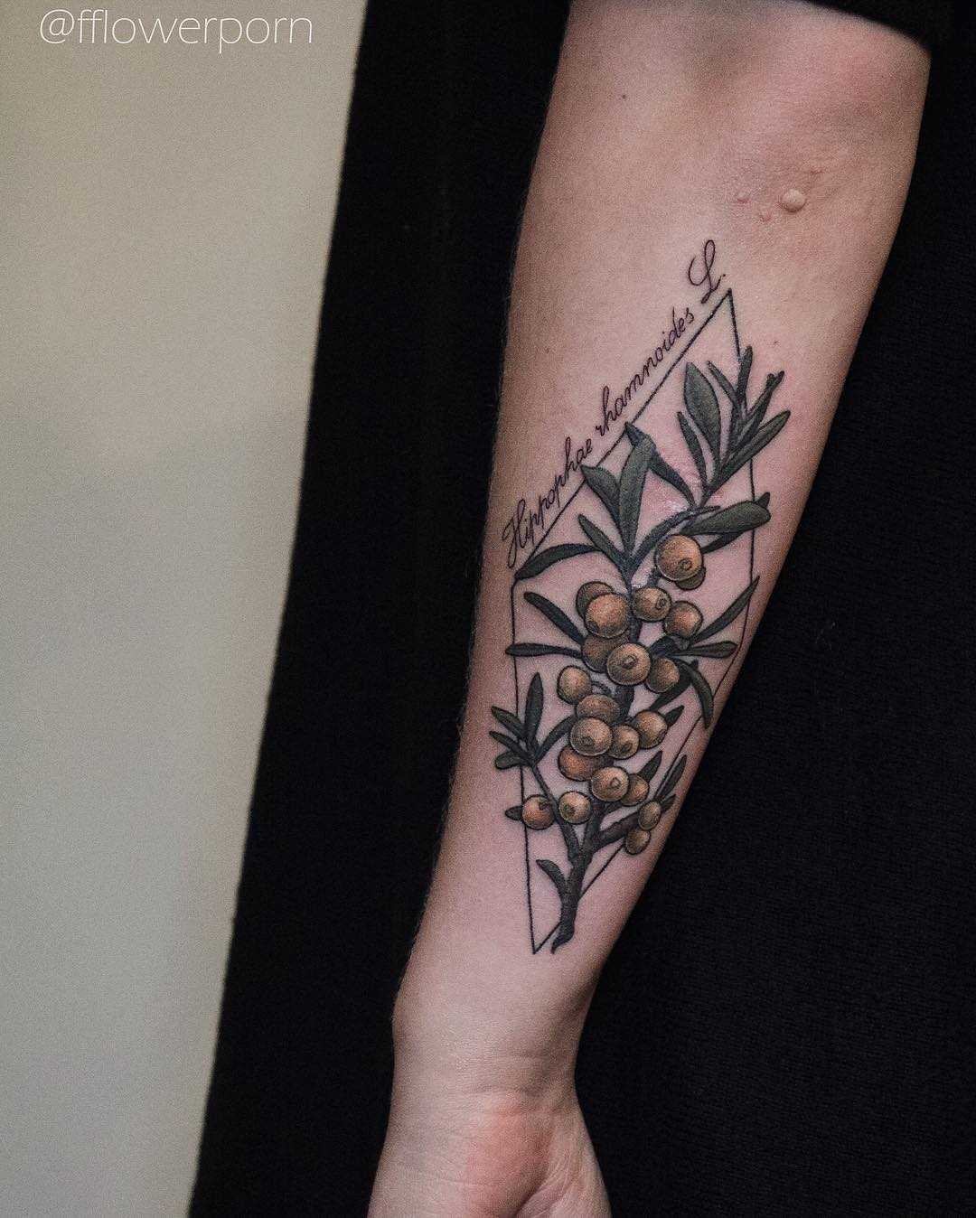 Cover up tattoo of a Sea buckthorn