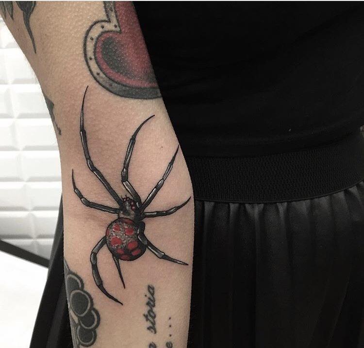 Creepy spider tattoo by Alex Ciliegia
