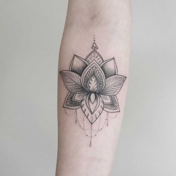Dot-work Lotus tattoo by Zszywka Black