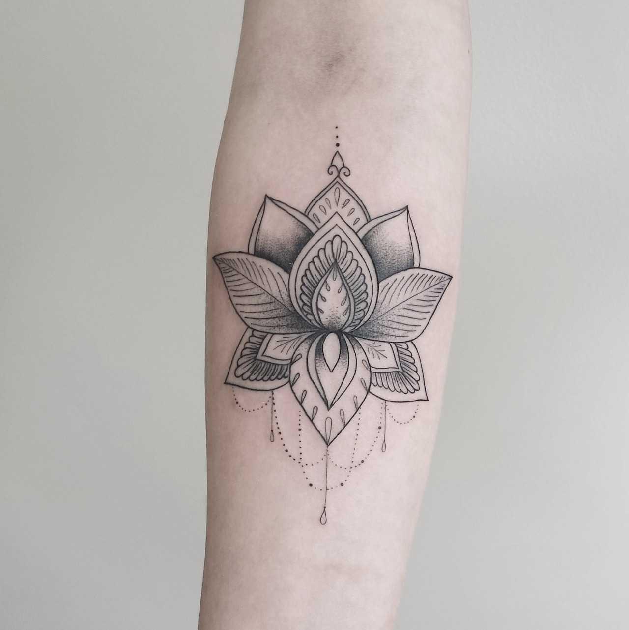 Dot-work Lotus tattoo by Zszywka Black