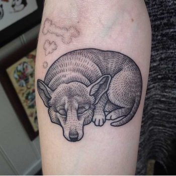 Dreaming Corgi tattoo by Susanne König
