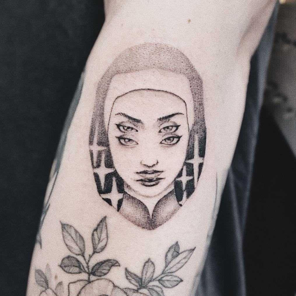 Evil nun tattoo by Dogma Noir
