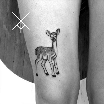 Fawn tattoo on the thigh