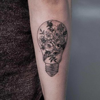 Floral lightbulb by Oozy Tattoo