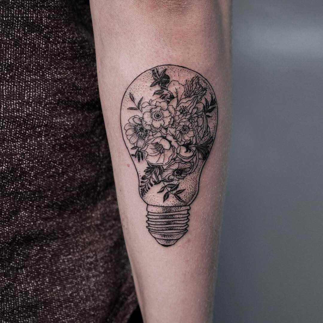 Floral lightbulb by Oozy Tattoo
