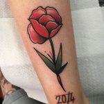 Flower and date tattoo by Jeroen Van Dijk