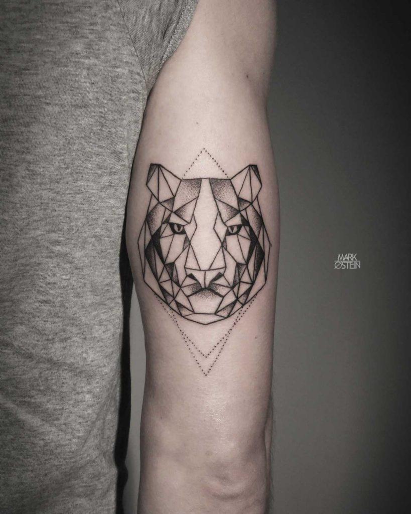 Geometric tiger tattoo by Mark Ostein