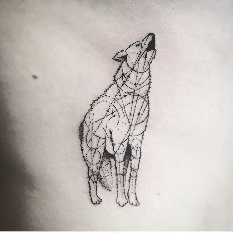 Geometric wolf tattoo by Unkle Gregory
