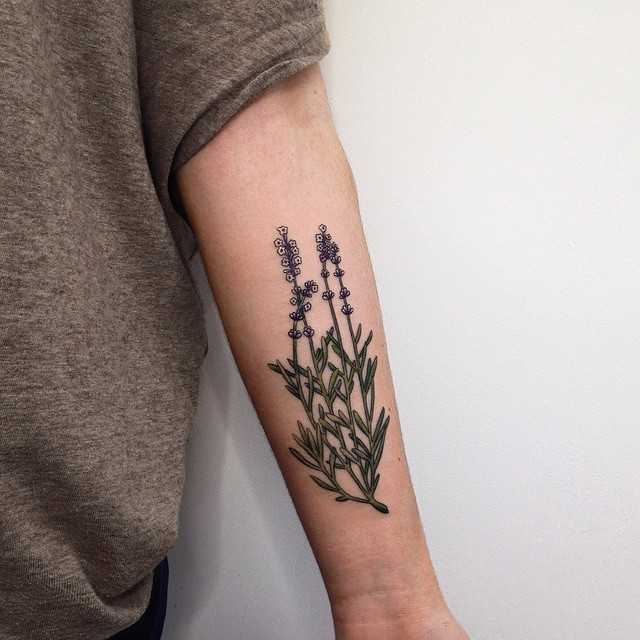 Gorgeous lavender tattoo on the left forearm