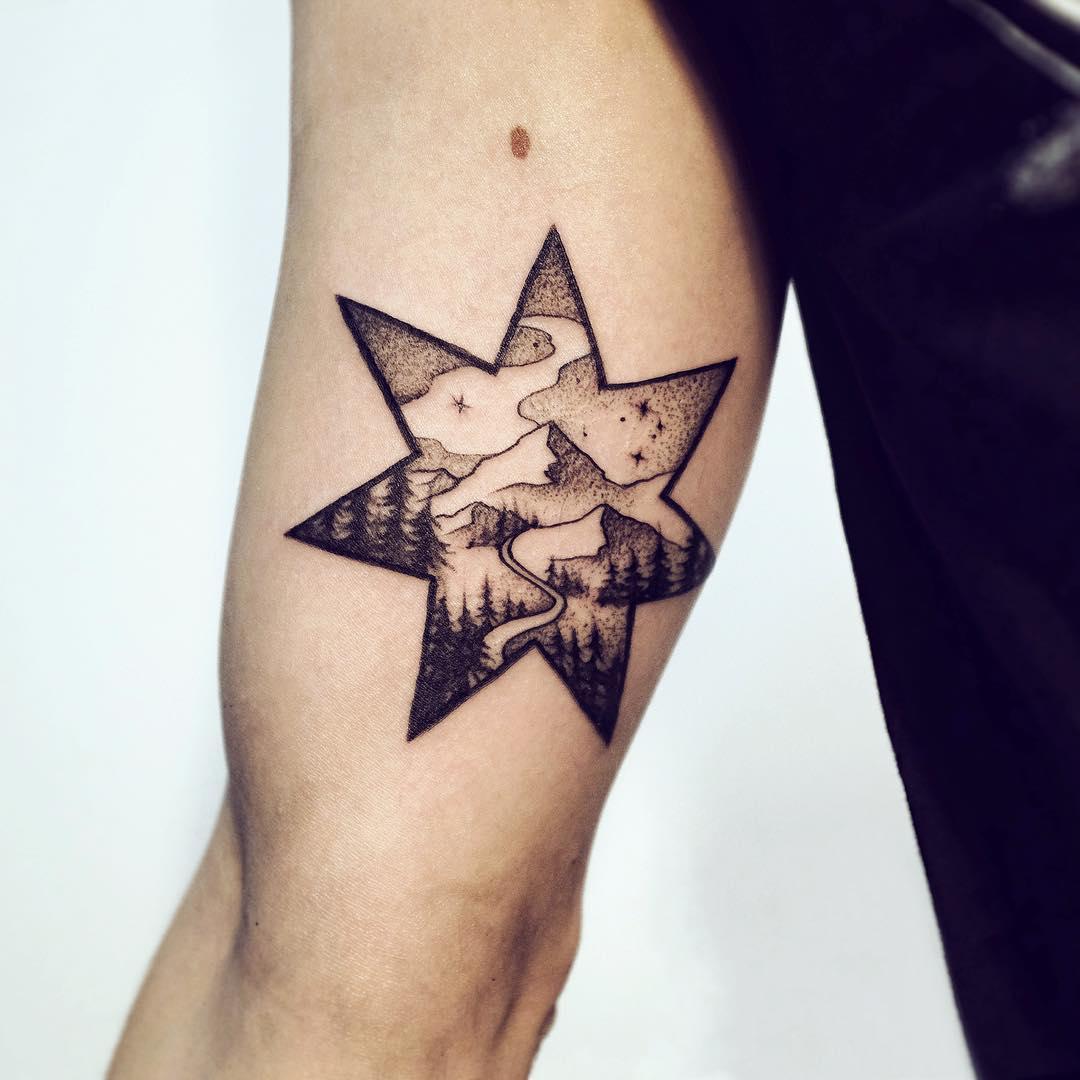Guiding star tattoo by Sasha Kiseleva