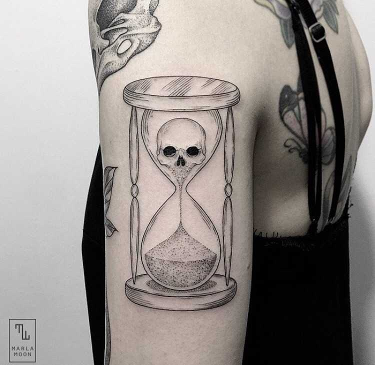 Hourglass tattoo by Marla Moon