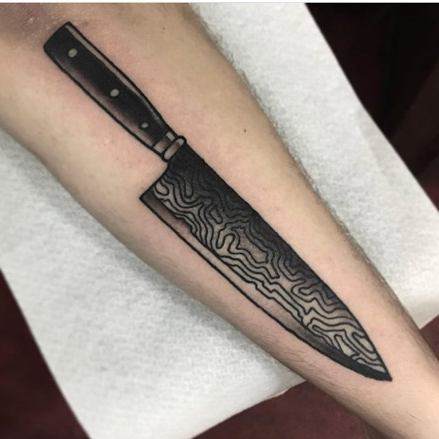 Knife tattoo by Mikkel Westrup