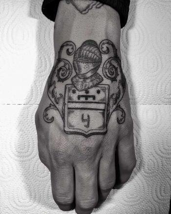 Knight's helmet tattoo