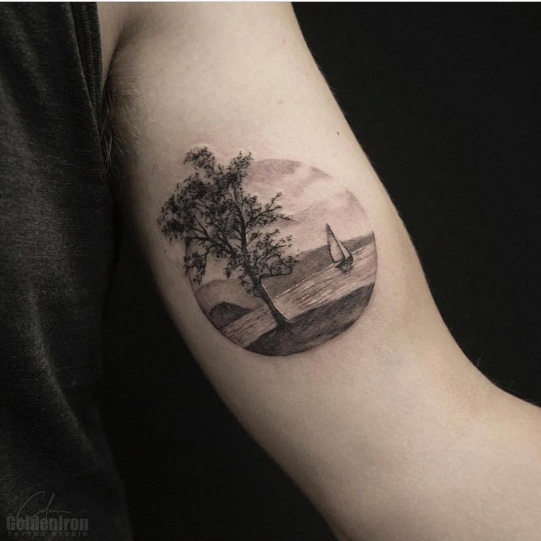 Lake landscape tattoo by Calvin