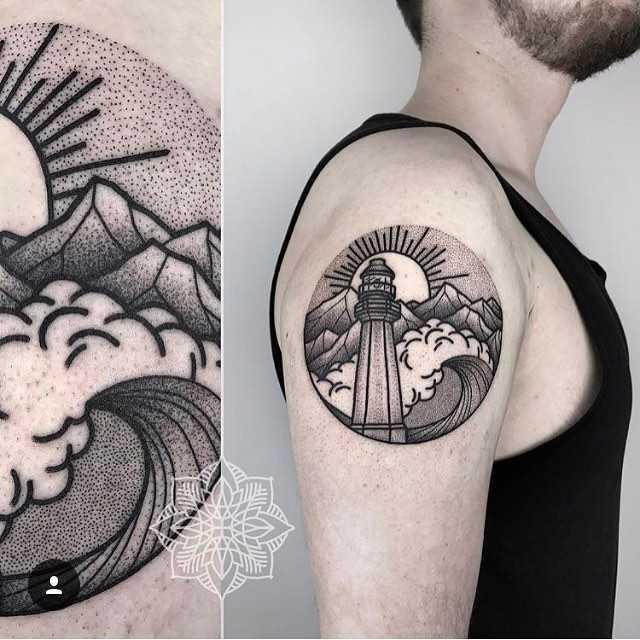 Lighthouse tattoo by Herzdame