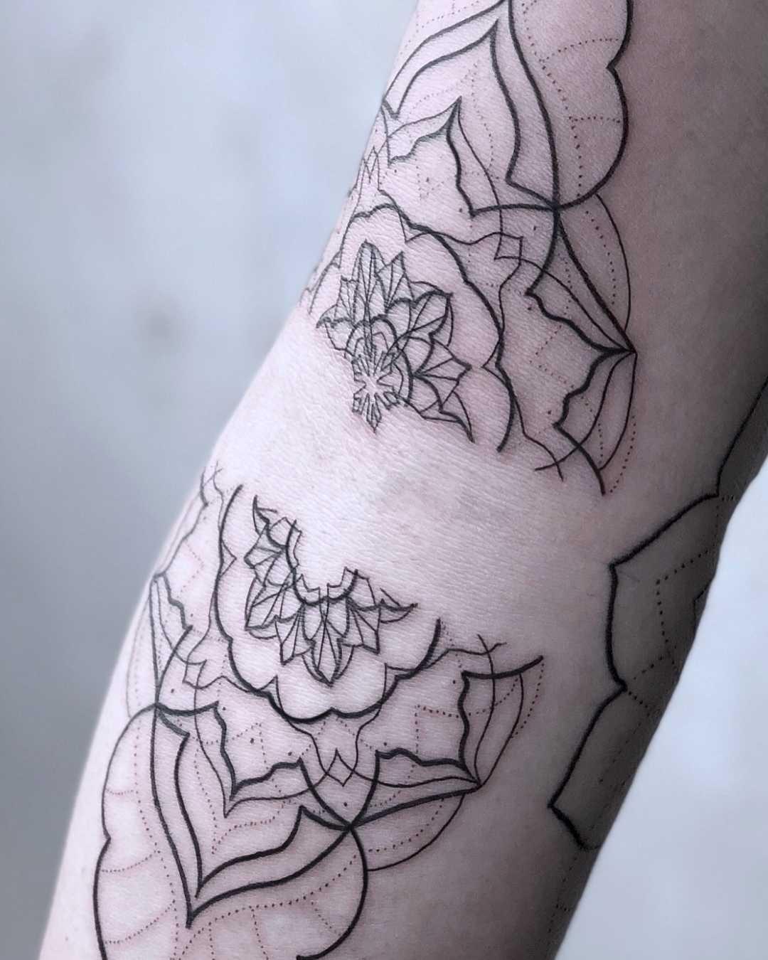 Mandala tattoo in progress