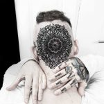 Mandala tattoo on the head by Matteo Nangeroni