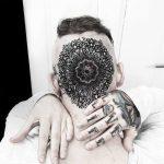 Mandala tattoo on the head by Matteo Nangeroni