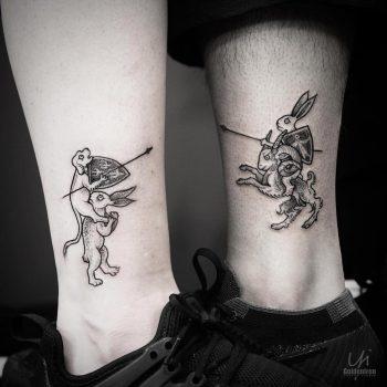 Matching couple tattoo by Yi.postyism