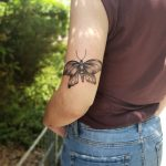Moth tattoo on the triceps
