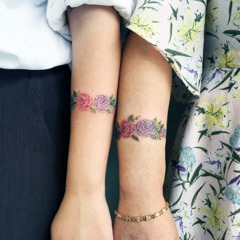 Mother and daughter flower tattoos
