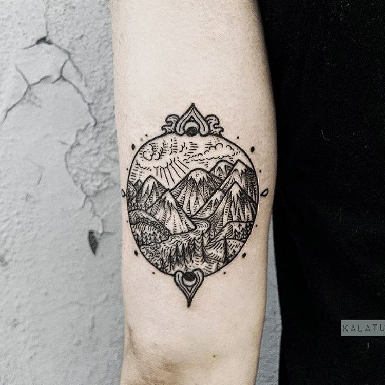 Mountain scene by Gristle Tattoo