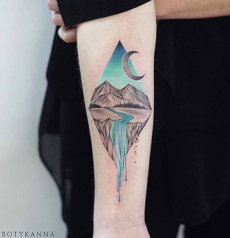 Mountain stream tattoo by Botyk anna