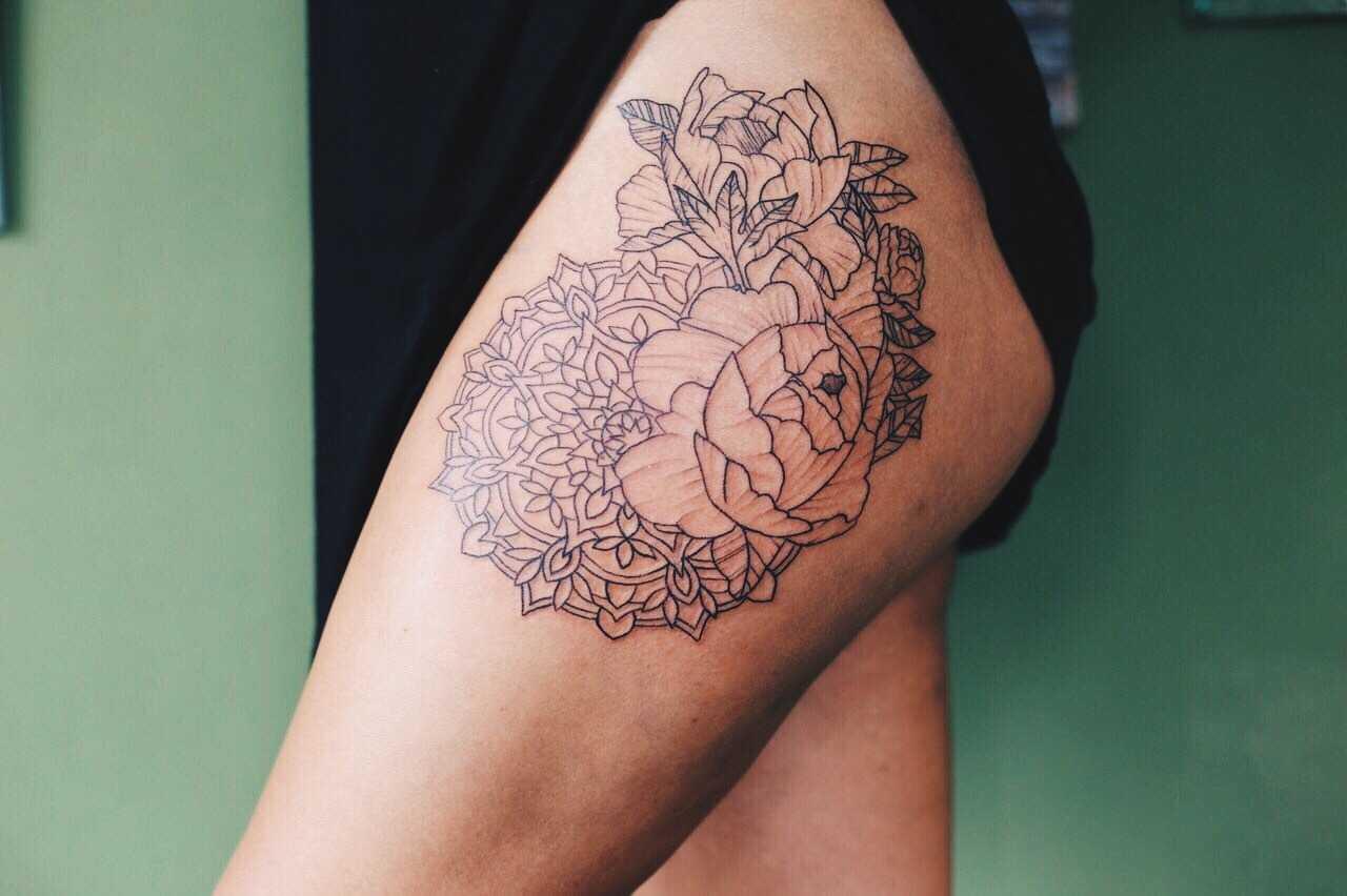 Outline flowers and mandala tattoo