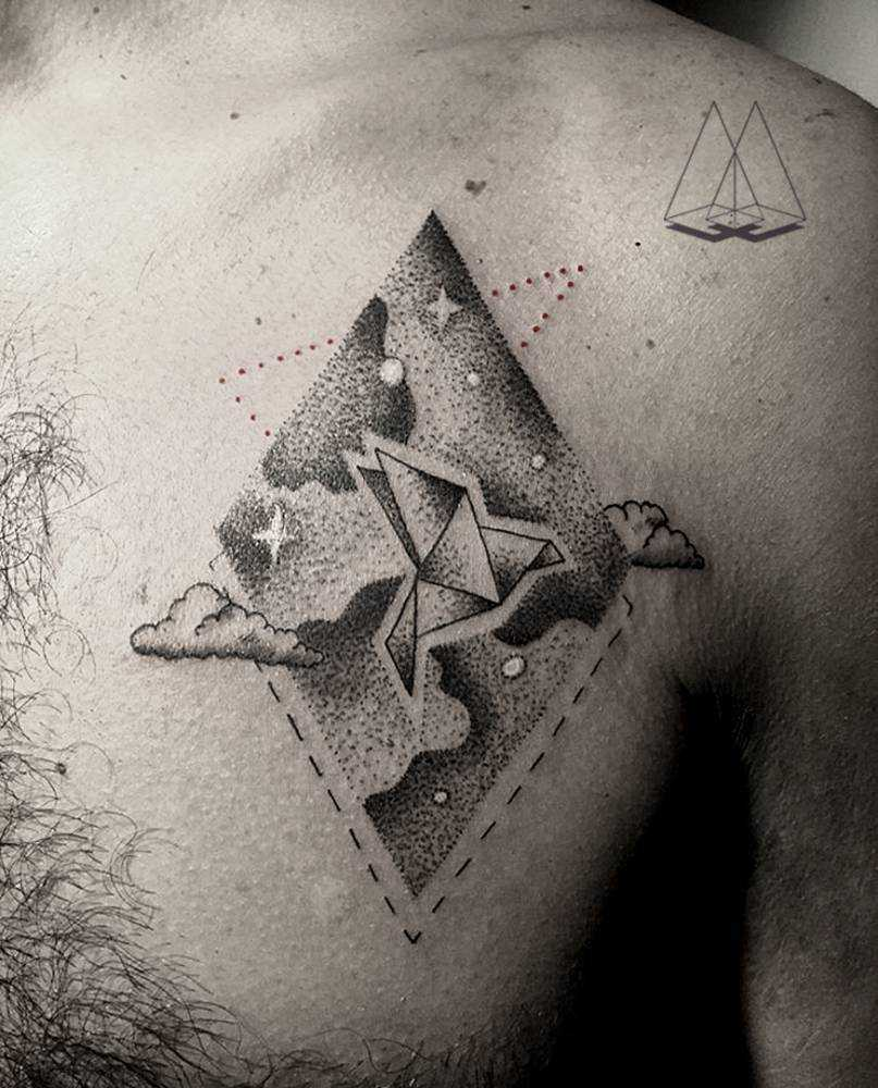 Paper bird tattoo by Mentat Gamze