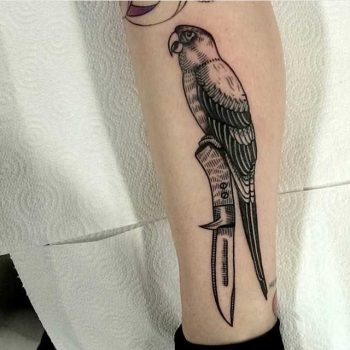 Parrot on a knife tattoo by Nick Whybrow