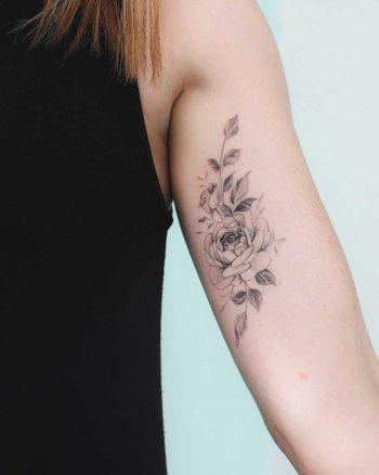 Peony and rose tattoo