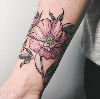Pink flower tattoo by Catherine Harmony