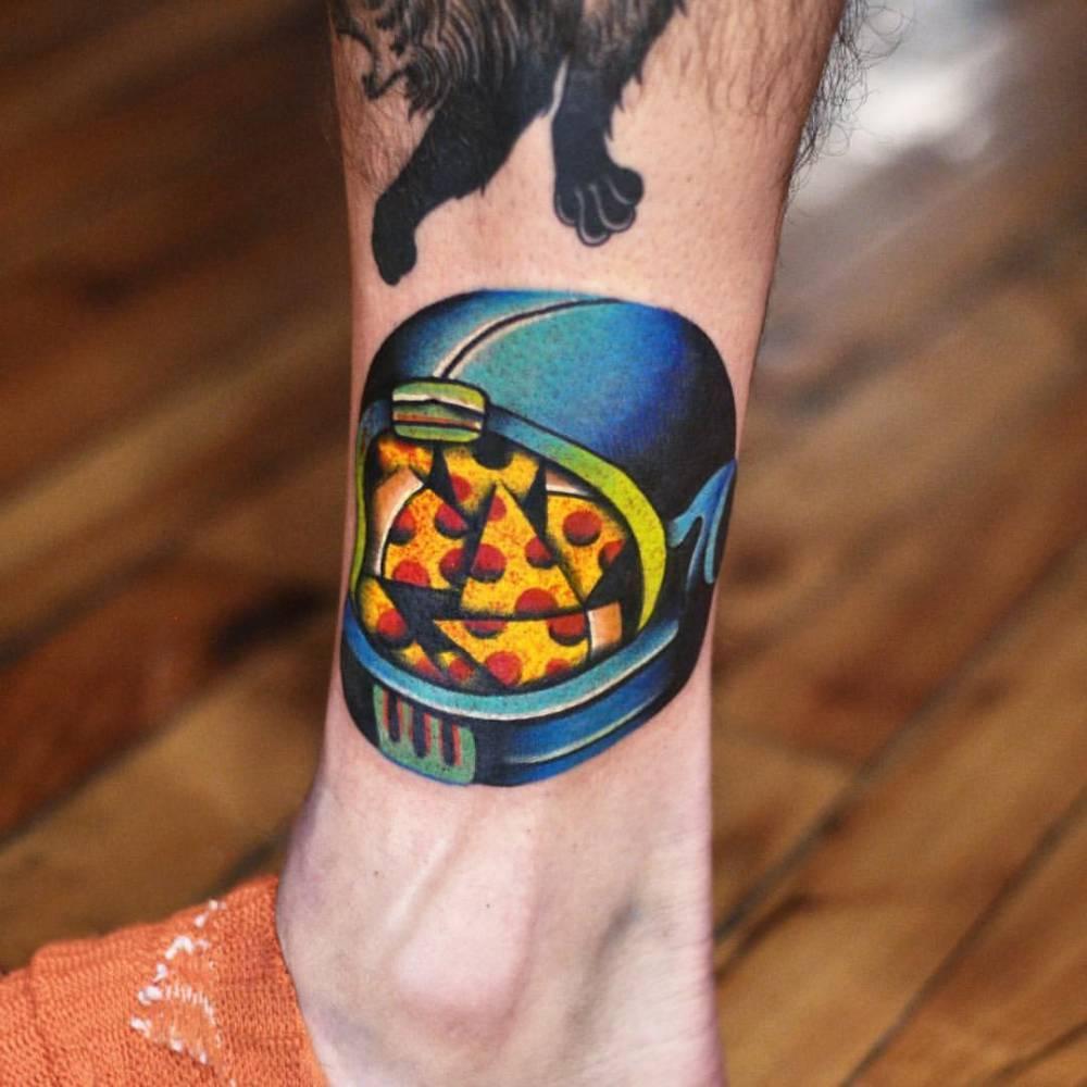 Pizza helmet tattoo