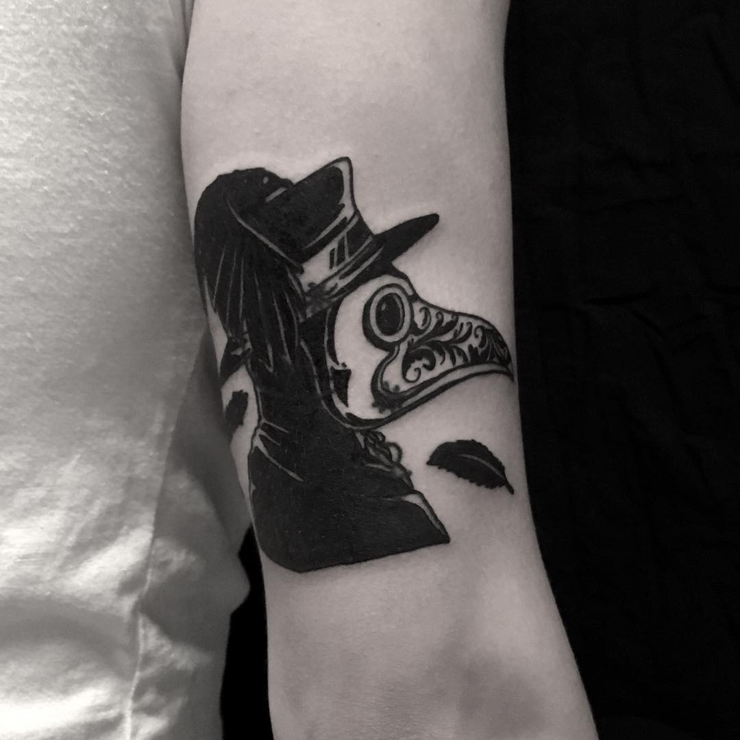 Plague doctor cover up tattoo done at BK Ink Studio