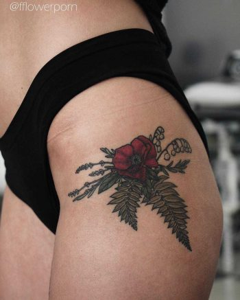 Poppy, fern, lavender, rosemary, and lily tattoo