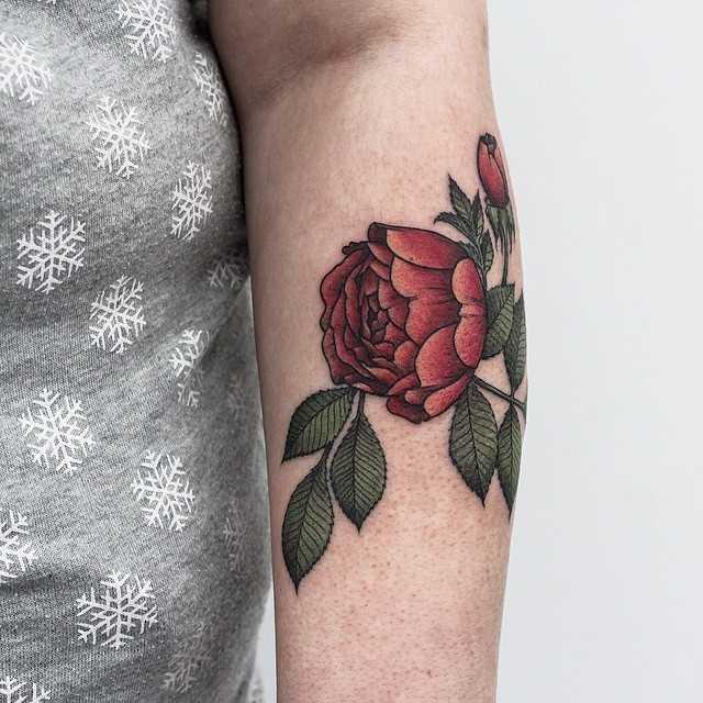 Red garden rose tattoo