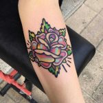 Rose by tattooist Raro done at Bloody Bones Tattoo Parlor