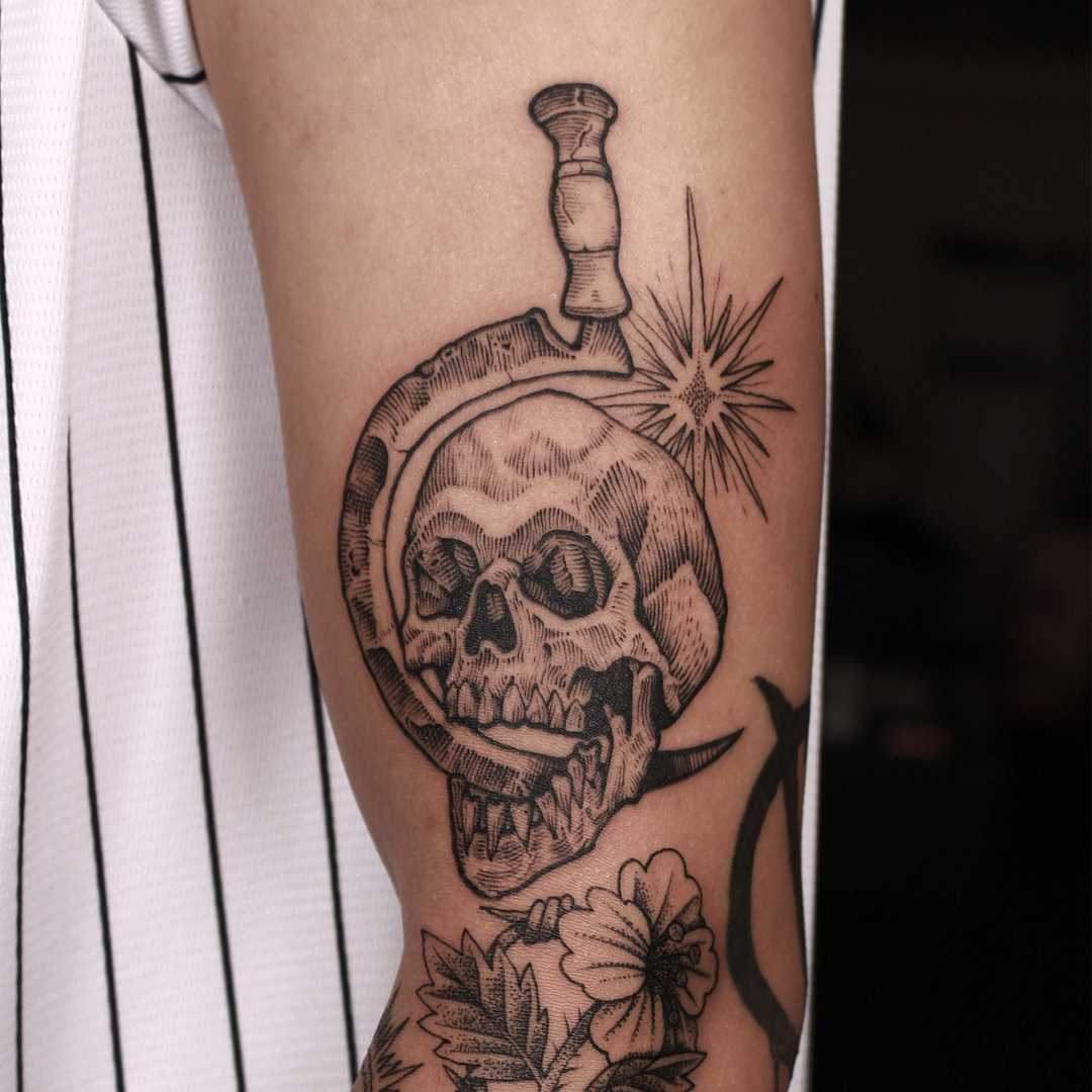 Skull and sickle tattoo