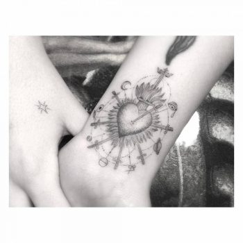 Sky Ferreira flaming heart tattoo