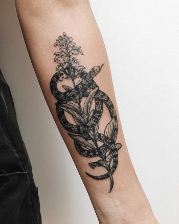 Snake wrapped around a flower