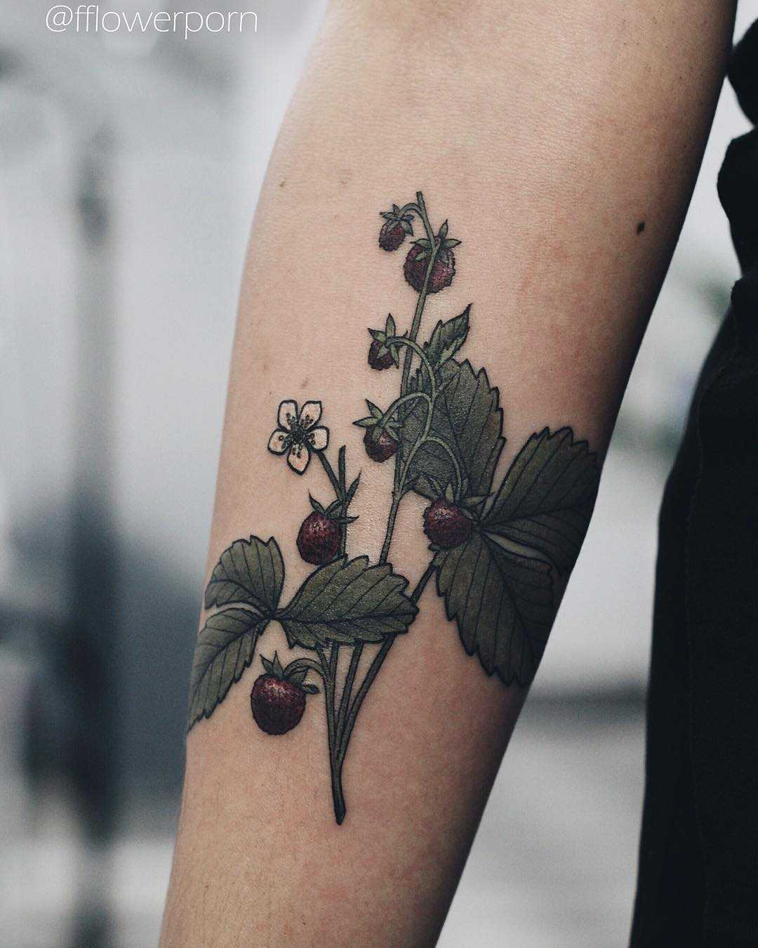 Strawberry plant tattoo