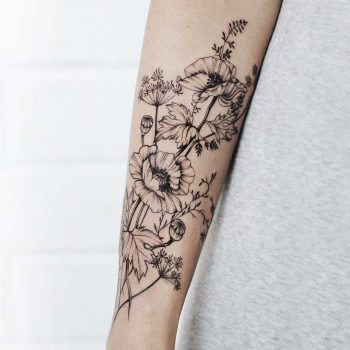 Tender poppies and wild flowers tattoo