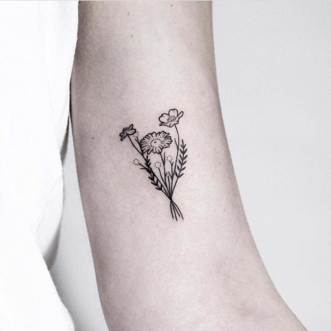 Tiny bouquet tattoo by Rach Ainsworth