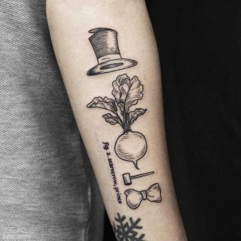 Turnip head tattoo on the forearm