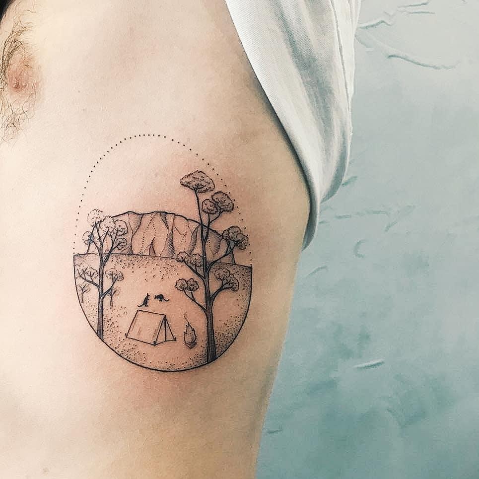 Uluru tattoo by tattooist Cholo