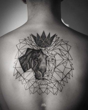 Unfinished geometric lion tattoo
