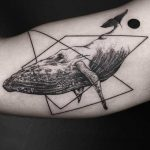 Whale and geometrics tattoo
