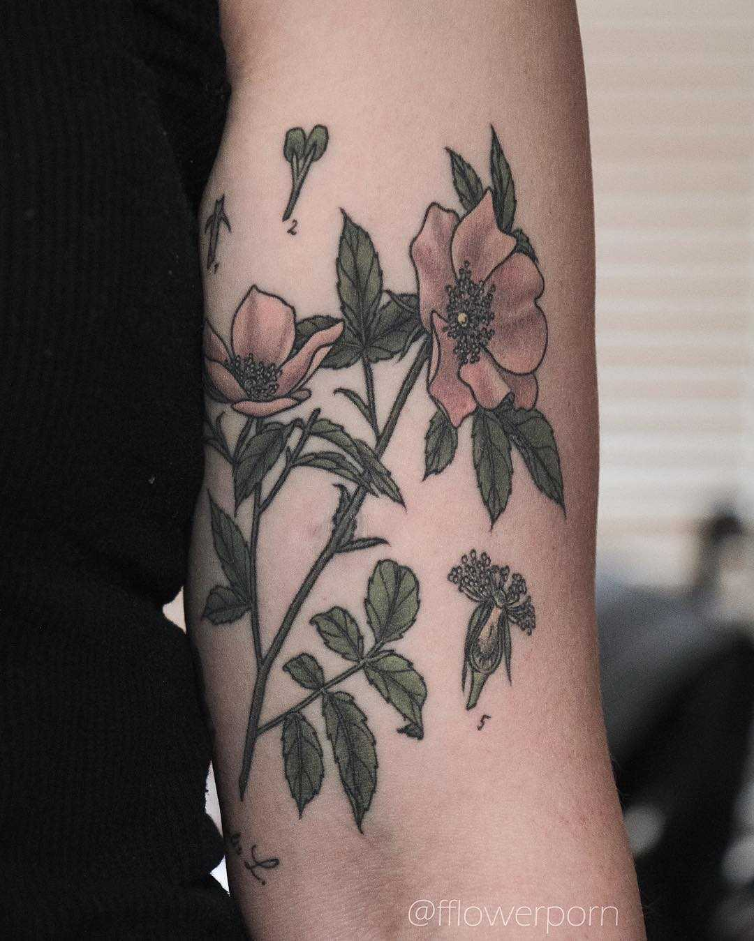 Wild rose tattoo by Olga Nekrasova