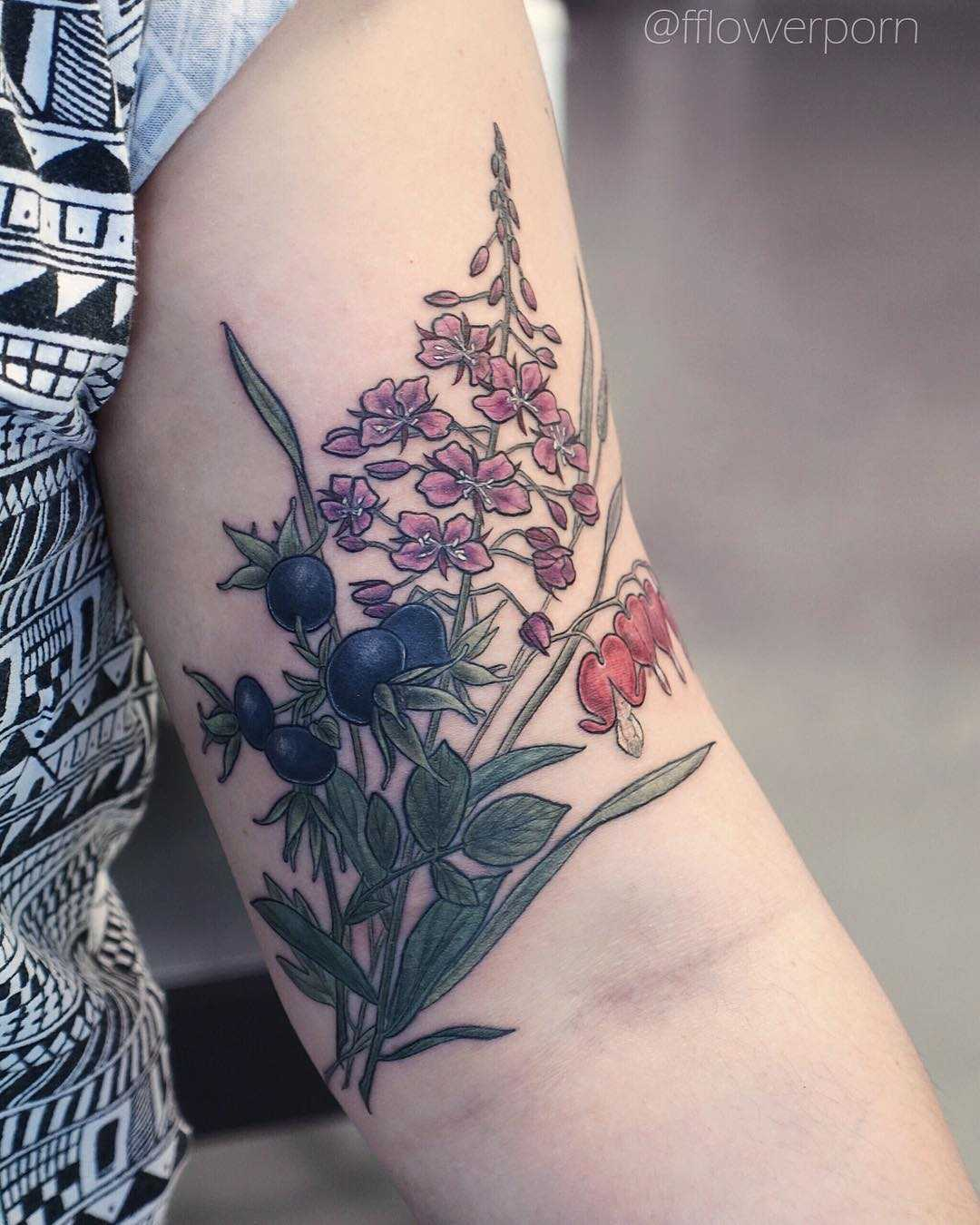Willow herb timothy grass tattoo