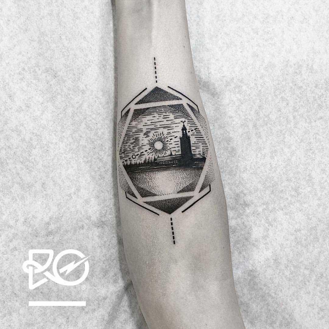 A black landscape tattoo by Ro Robert